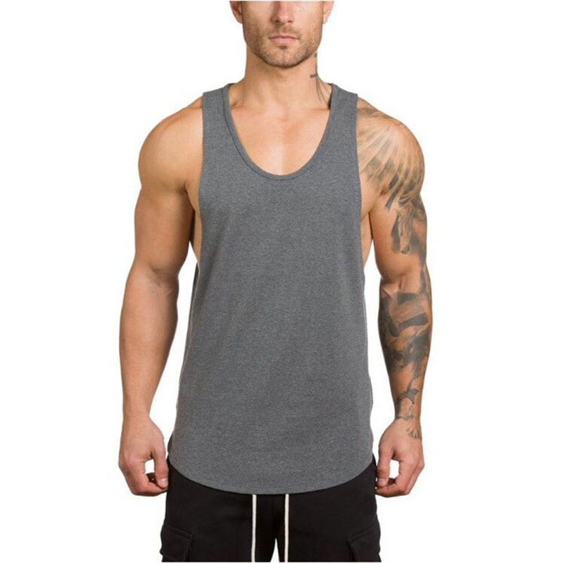 GRT Fitness 18650-1rzyny Men's Solid Color Loose Style Tank Top