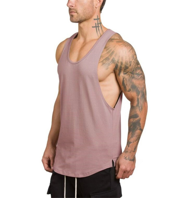 GRT Fitness 18650-ashcyg Men's Solid Color Loose Style Tank Top