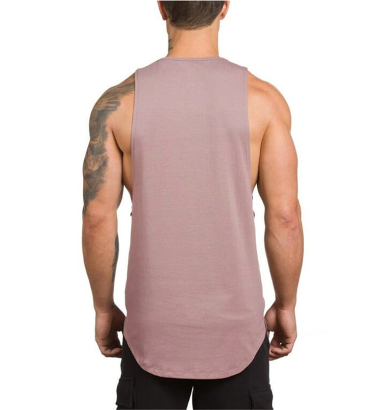 GRT Fitness 18650-d8cmhl Men's Solid Color Loose Style Tank Top