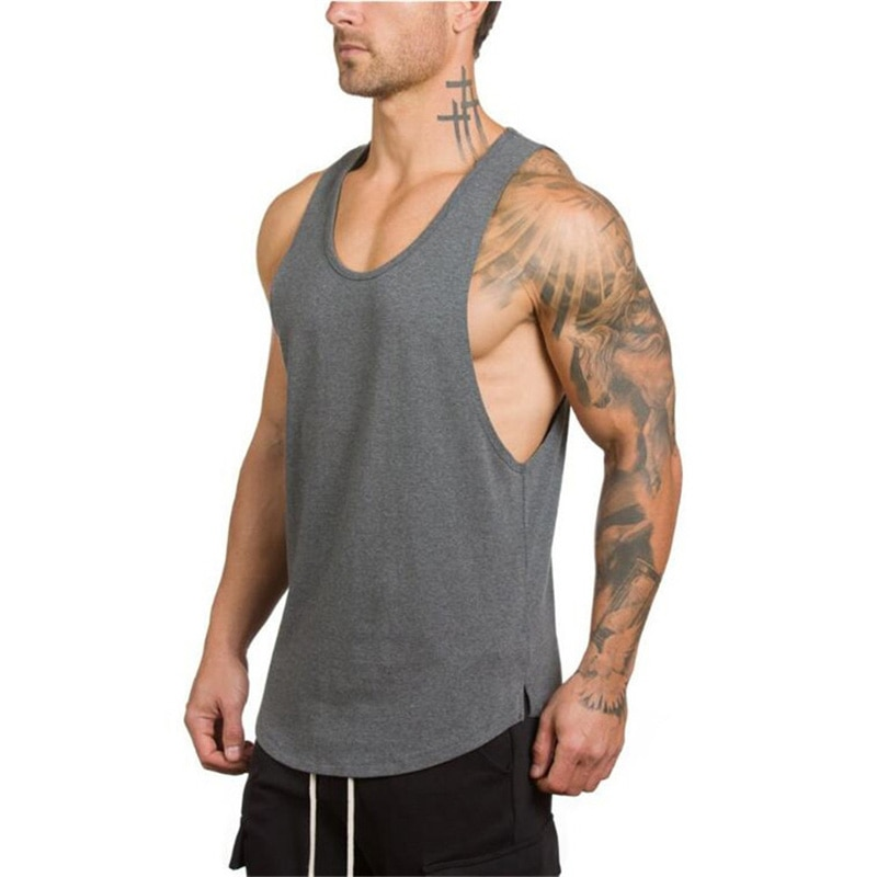 GRT Fitness 18650-h3idw2 Men's Solid Color Loose Style Tank Top