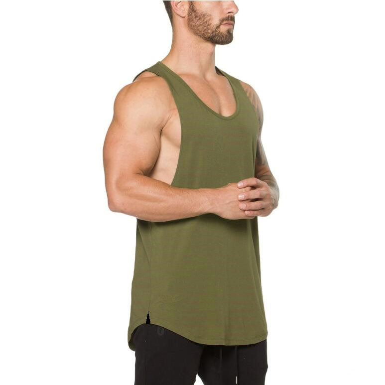GRT Fitness 18650-lmtki0 Men's Solid Color Loose Style Tank Top