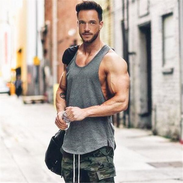 GRT Fitness 18650-n5vgkh Men's Solid Color Loose Style Tank Top