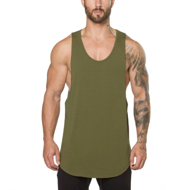 GRT Fitness 18650-t3dbw7 Men's Solid Color Loose Style Tank Top