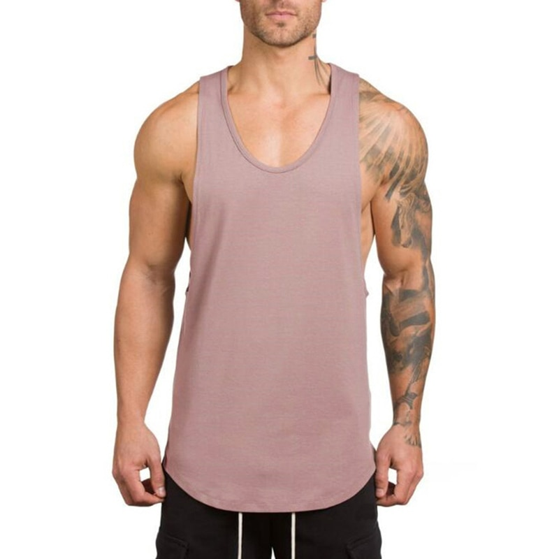 GRT Fitness 18650-x2a2wi Men's Solid Color Loose Style Tank Top