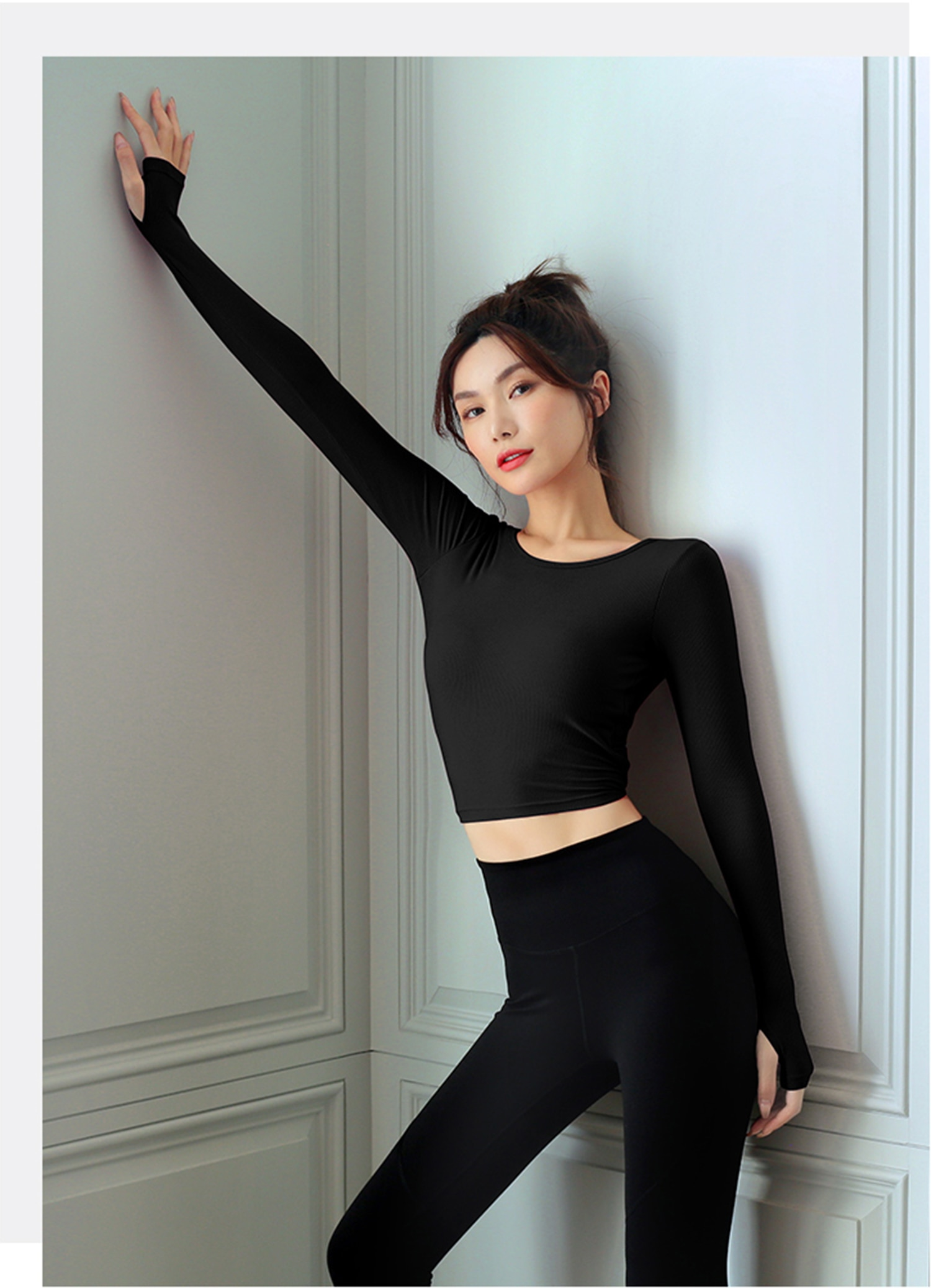 GRT Fitness 19659-hqgdxi Long Sleeve Yoga Shirt for Women with Criss Cross Back Detail