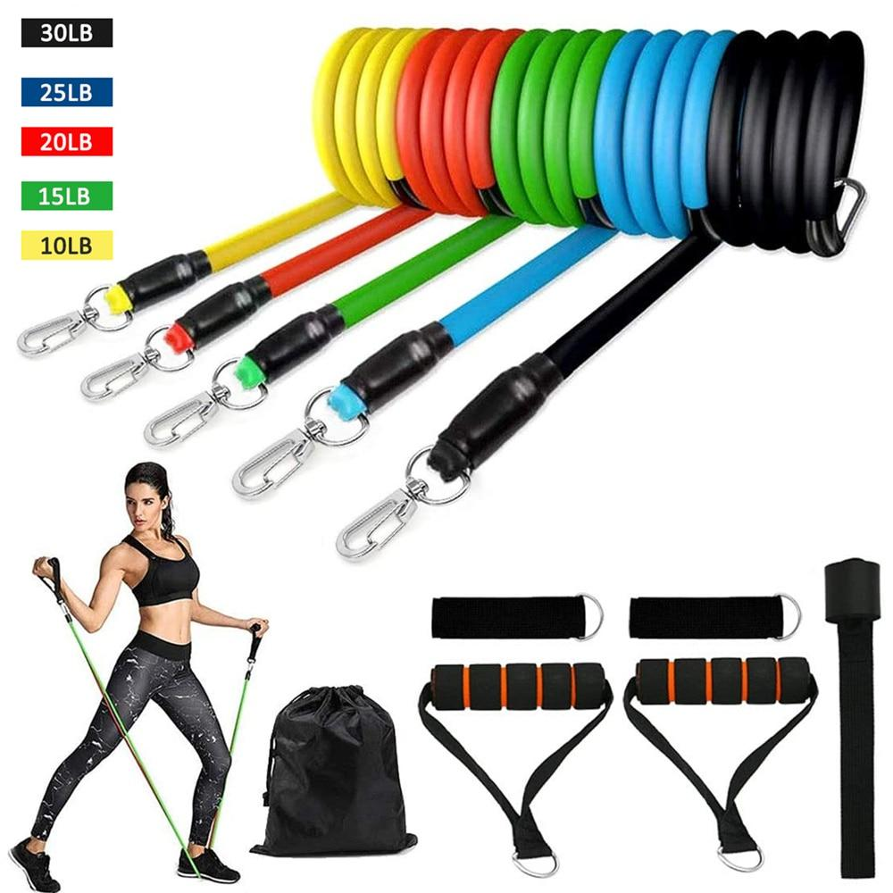 GRT Fitness 21016-9945f2 150lb/set Fitness Resistance Tube Style Band Set for Yoga, Gym, Stretch or Pull Rope Exercise Training