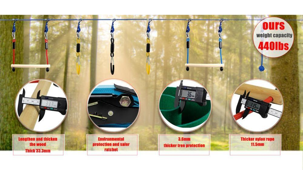 GRT Fitness 21302-d8f7ab Hanging Obstacle Course - Ninja Warrior Playground Outdoor Training Equipment