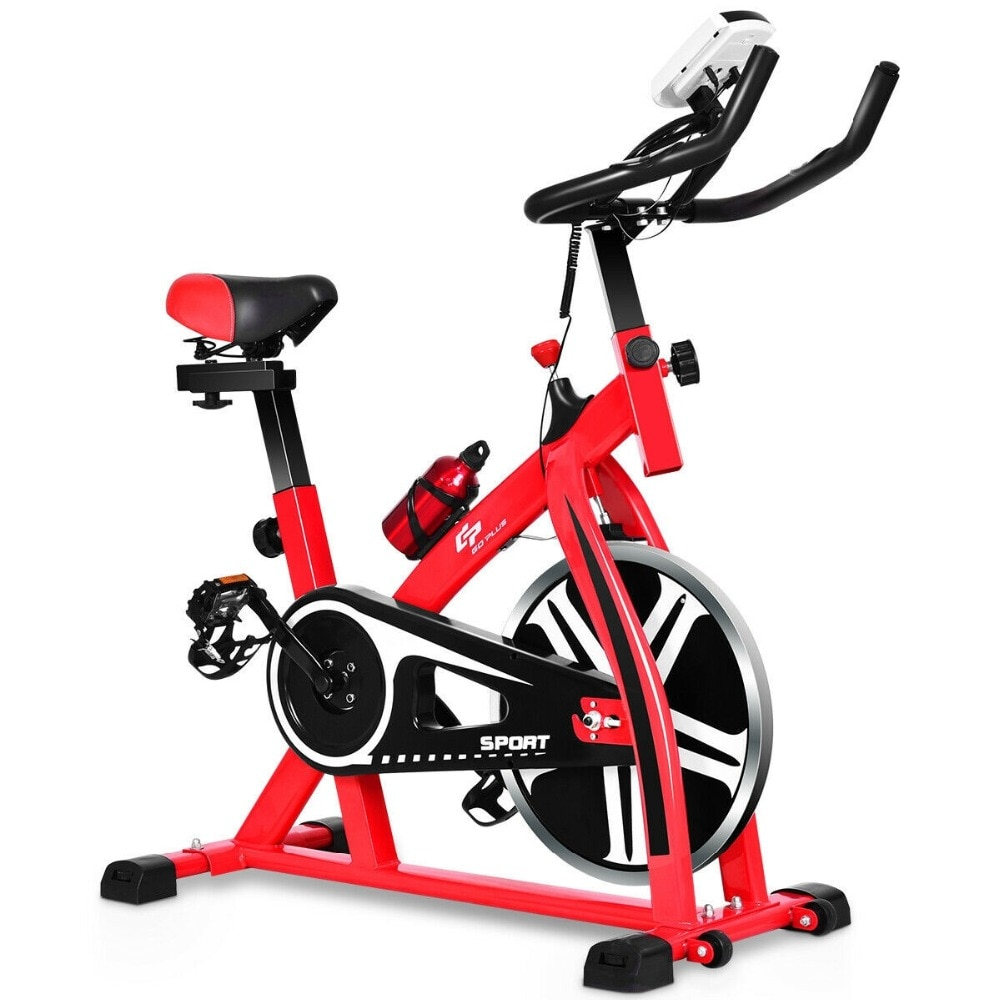 GRT Fitness 22405-8pkeo7 Ergonomic Adjustable Resistances Exercise Bicycle Cycling Cardio Fitness LCD Electronic Display Thickened Steel Pipe Bicycle