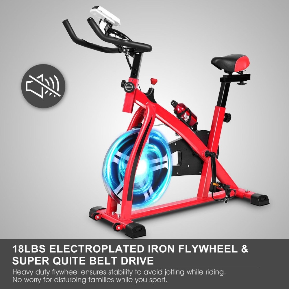 GRT Fitness 22405-9sjt8e Ergonomic Adjustable Resistances Exercise Bicycle Cycling Cardio Fitness LCD Electronic Display Thickened Steel Pipe Bicycle