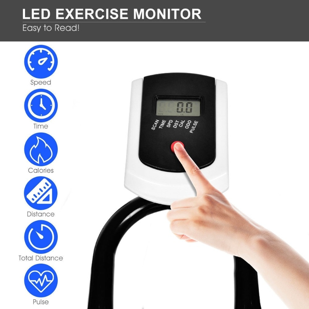 GRT Fitness 22405-hwlh2z Ergonomic Adjustable Resistances Exercise Bicycle Cycling Cardio Fitness LCD Electronic Display Thickened Steel Pipe Bicycle
