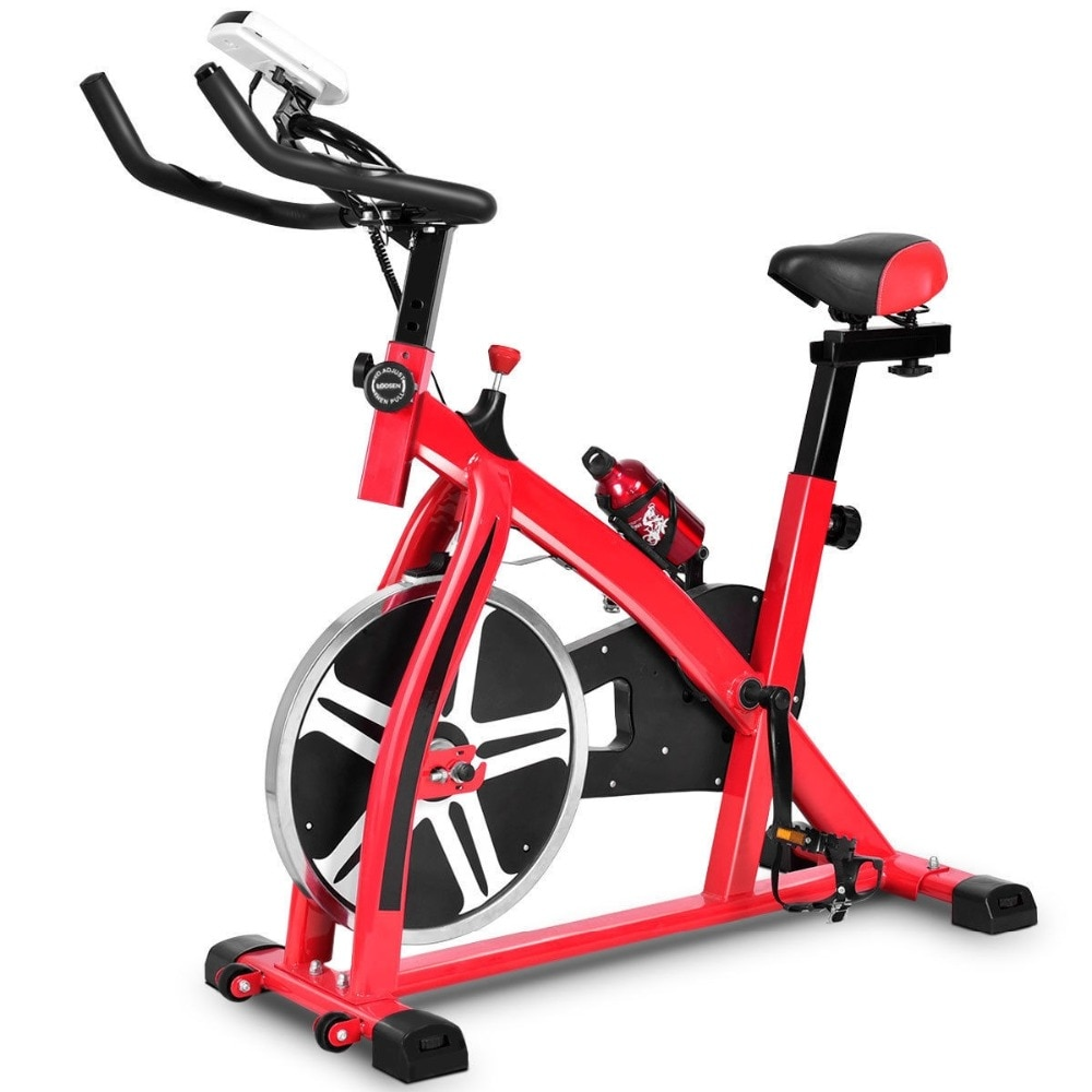 GRT Fitness 22405-tfcg3r Ergonomic Adjustable Resistances Exercise Bicycle Cycling Cardio Fitness LCD Electronic Display Thickened Steel Pipe Bicycle