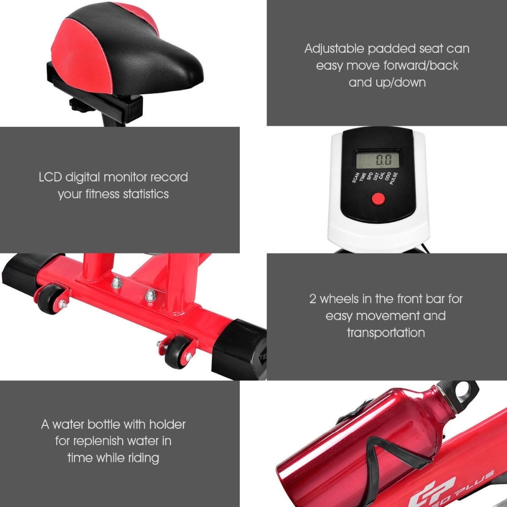 GRT Fitness 22405-wswywu Ergonomic Adjustable Resistances Exercise Bicycle Cycling Cardio Fitness LCD Electronic Display Thickened Steel Pipe Bicycle