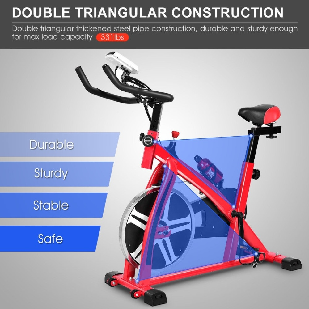 GRT Fitness 22405-wxrzaf Ergonomic Adjustable Resistances Exercise Bicycle Cycling Cardio Fitness LCD Electronic Display Thickened Steel Pipe Bicycle