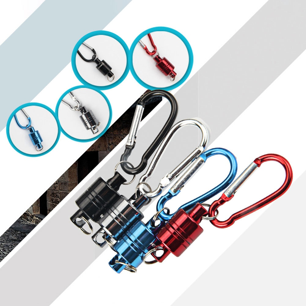 GRT Fitness 22669-hruwaq Magnetic Carabiner Magnetic Button Fishing Keychain Snap Clip Lock Buckle Hook Carabiner Fishing Tool Outdoor Camping Supplies