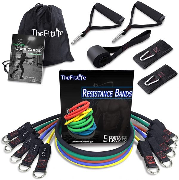GRT Fitness 71n33kWubAL._AC_SL1500_ FitLife Exercise and Resistance Bands Set - Stackable up to 150 lbs