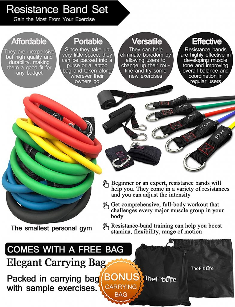GRT Fitness 91oYr98eqCL._AC_SL1500_-785x1024 FitLife Exercise and Resistance Bands Set - Stackable up to 150 lbs