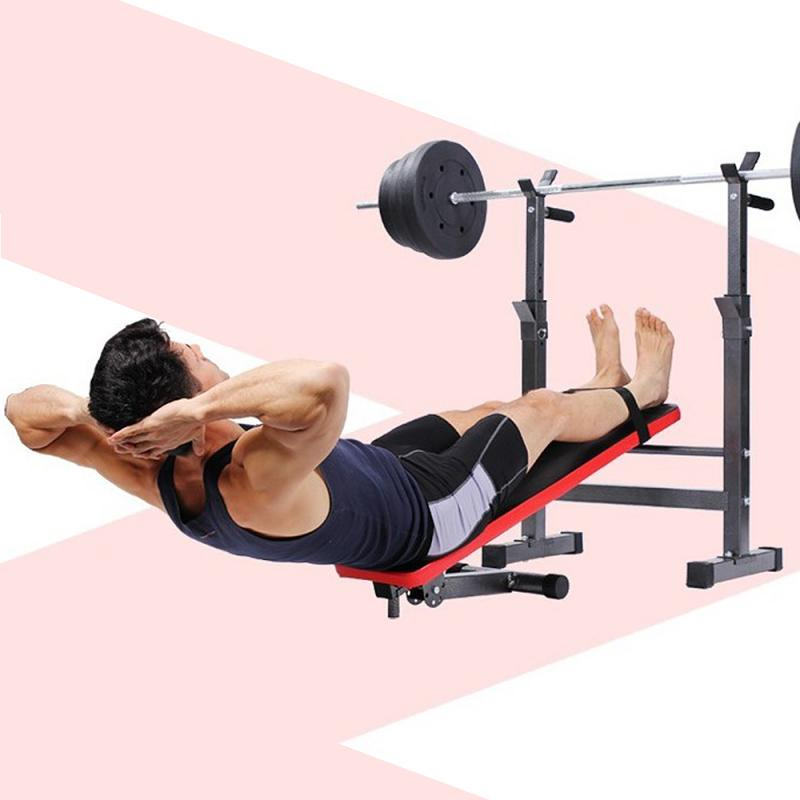 GRT Fitness 23719-37lvze Fitness Exercise Foldable Height Adjustable Multifunctional Bench Press Weightlifting Bed Total Load Weight 450lbs