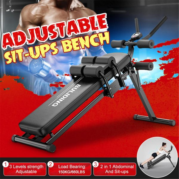 GRT Fitness 23747-giec1k 3 Levels Adjustable Sit Up Benches Abdominal Muscle Trainer Multifunction Abs Workout Lose Weight Home Gym Fitness Equipment