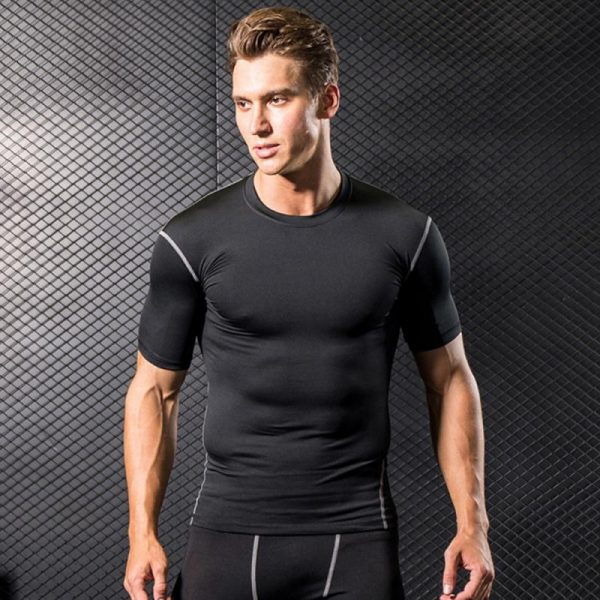GRT Fitness 23890-8vz0k5 Men Sportswear Breathable Quick Dry Training Short Sleeved T-shirts Joggers Round Neck