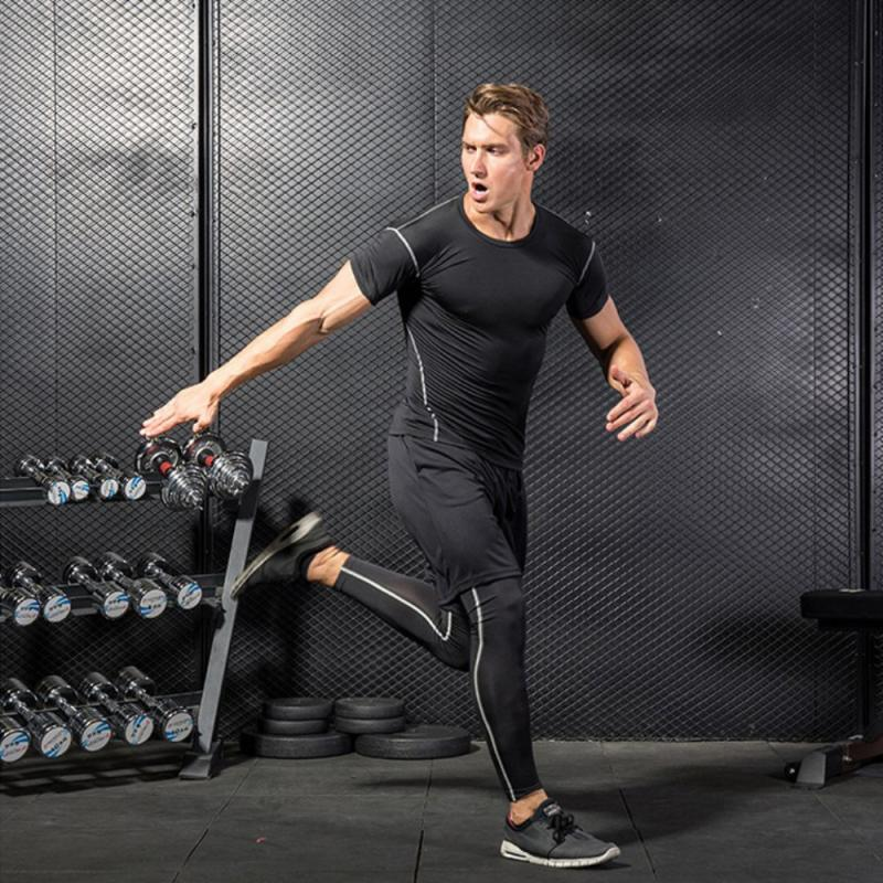GRT Fitness 23890-vcptgm Men Sportswear Breathable Quick Dry Training Short Sleeved T-shirts Joggers Round Neck