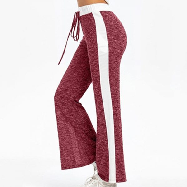 GRT Fitness 24185-f5wpv9 Women Wide Leg Pants Color Splicing Movement Drawstring Bottoms Summer Casual Ladies Fitness Jogging Sweatpants Trousers