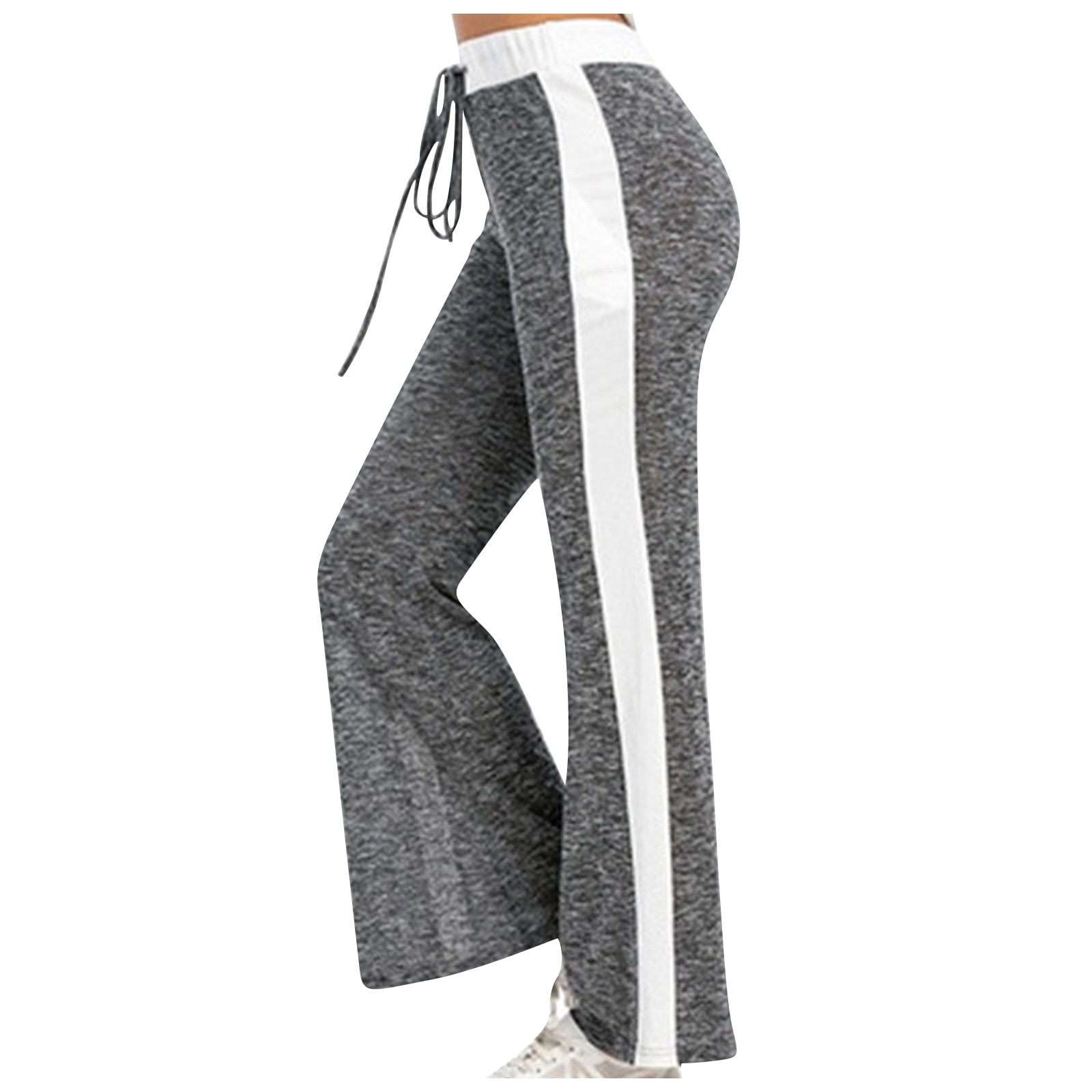 GRT Fitness 24185-oibifr Women Wide Leg Pants Color Splicing Movement Drawstring Bottoms Summer Casual Ladies Fitness Jogging Sweatpants Trousers
