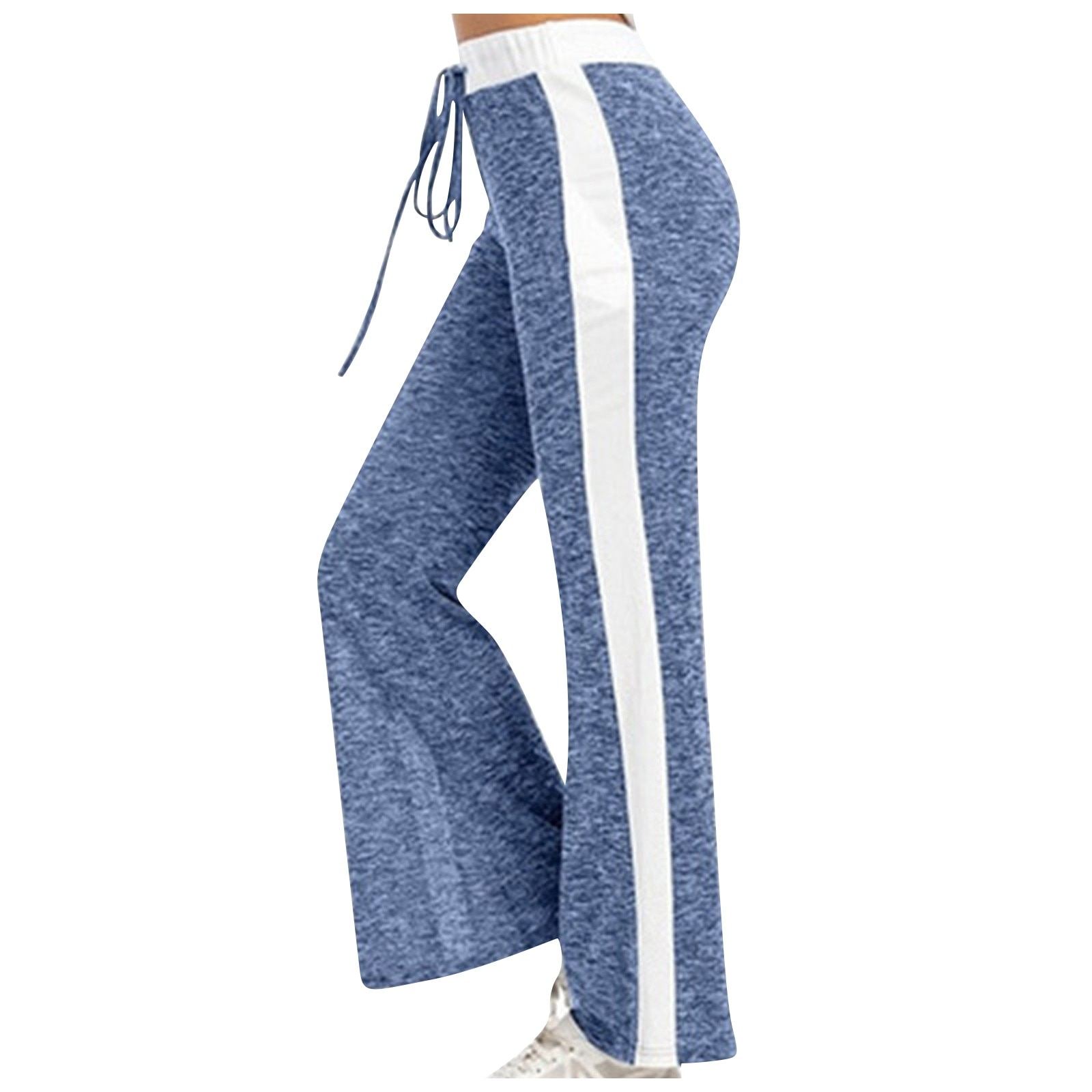 GRT Fitness 24185-wdmgfx Women Wide Leg Pants Color Splicing Movement Drawstring Bottoms Summer Casual Ladies Fitness Jogging Sweatpants Trousers