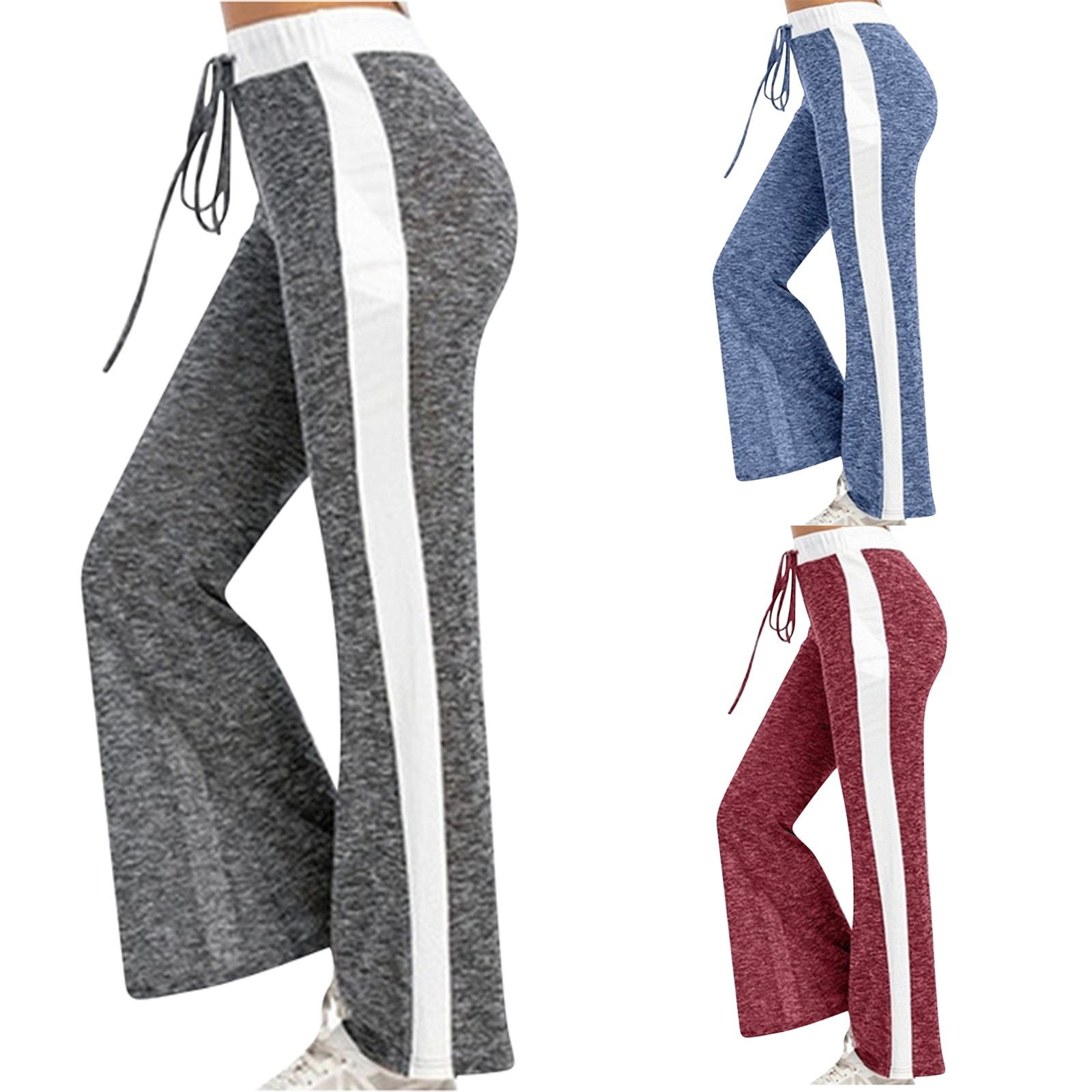 GRT Fitness 24185-ysnaas Women Wide Leg Pants Color Splicing Movement Drawstring Bottoms Summer Casual Ladies Fitness Jogging Sweatpants Trousers