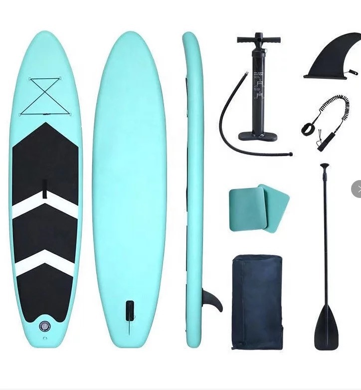 GRT Fitness 24379-98c8a9 Inflatable 10,5 feet SUP board with pump, paddle, bag and repair kit